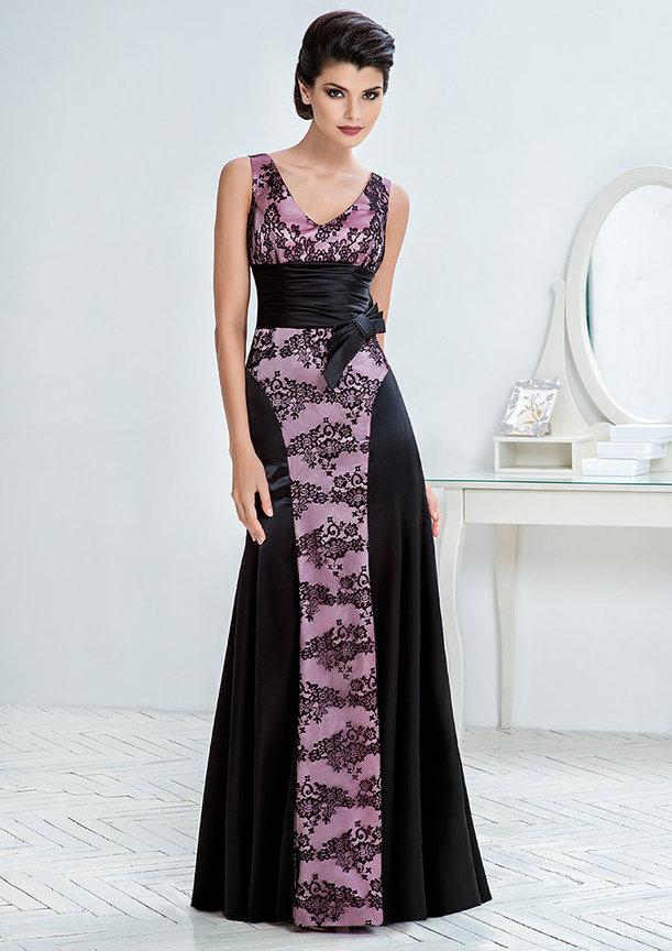 5ed57197007 Длинные вечерние платья  Вечернее платье из атласа с кружевом