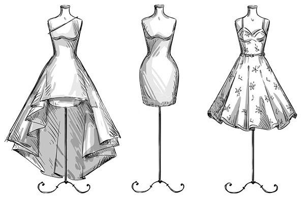 Как нарисовать эскиз с платьем