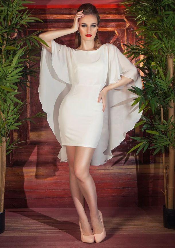 84a94ad47fe1aac Короткие (коктейльные) вечерние платья: Короткое прямое свадебное платье  Мелори, 42